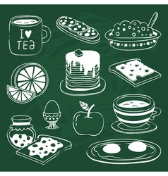 Breakfast icon set with various products drawn on vector