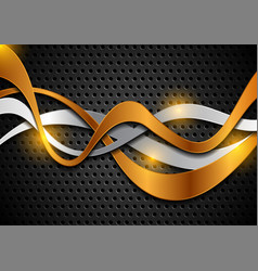 Bronze and silver shiny waves on perforated tech vector