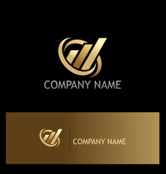 Business finance abstract gold company logo vector