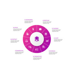 Business infographic 10 steps circle design vector