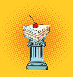 cake with cherries in the antiques column vector image