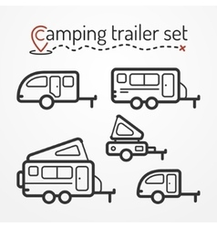 Camping trailer set vector