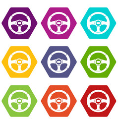 car steering wheel icon set color hexahedron vector image