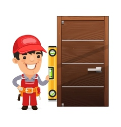 Carpenter Checks the New Door vector image