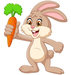 Cartoon happy rabbit holding carrot vector image
