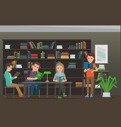 Cartoon people read books at library library room vector