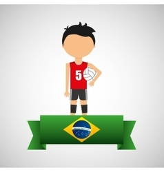 cartoon voleyball player brazilian label vector image