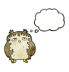 cartoon wise old owl with thought bubble vector image