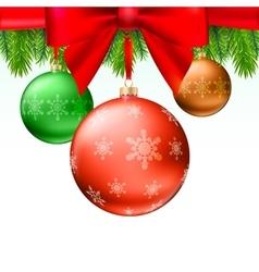 Christmas balls green fir branches bow white vector