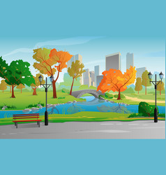 city park warm sunny day autumn landscape vector image