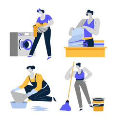 cleaning house housekeeping and housework vector image