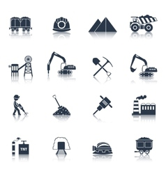 Coal Industry Icons Black vector image