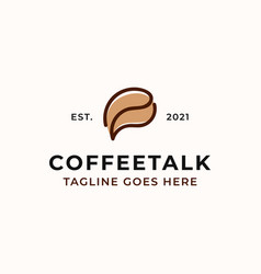 coffee bean with bubble chat concept logo vector image