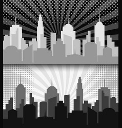 Comic cityscape monochrome horizontal banners vector