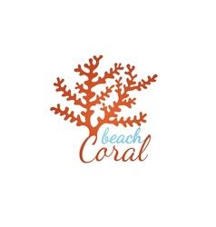coral beach logo template vector image