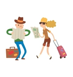 Couple with maps vector