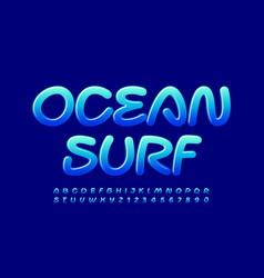 Creative logo ocean surf glossy blue alphabet vector