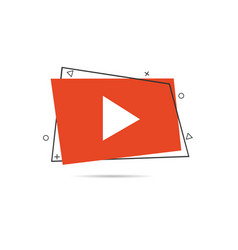 creative red play button icon vector image