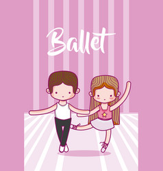 Cute ballet dancers cartoons vector