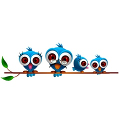 cute blue bird family vector image