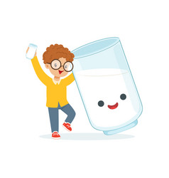 Cute redhead little boy and funny milk glass with vector
