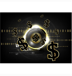 Digital currency worldwide financing golden coin vector