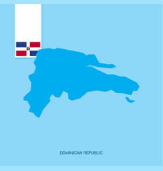 Dominican republic country map with flag over vector