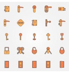 door locks keys icons vector image