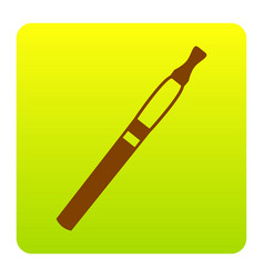 E-cigarette sign brown icon at green vector