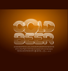 emblem cold beer with ice alphabet vector image