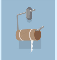 Empty toilet paper roll and metal holder vector