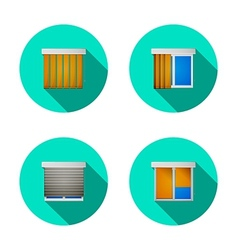 Flat icons for windows with louvers vector image
