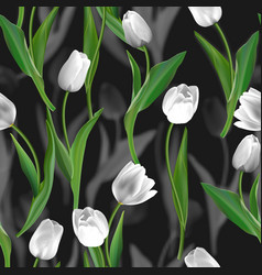 flower seamless background tulips over vector image
