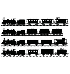 Four vintage steam trains vector