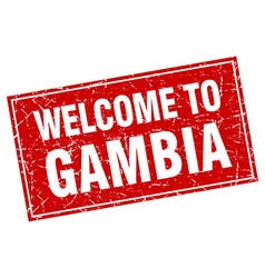 Gambia red square grunge welcome to stamp vector
