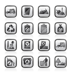 Garbage cleaning and rubbish icons vector image