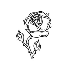 gardening rose icon hand drawn icon outline black vector image