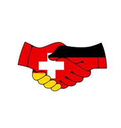 germany and switzerland partnership handshake vector image