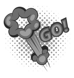 go comic speech bubble icon monochrome vector image