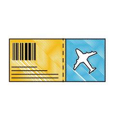 Grated airplane ticket travel to vacation tourism vector