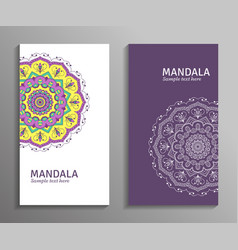 greeting invitation card flyer with mandala vector image