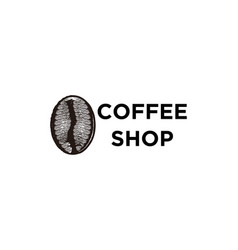 hand drawn coffee bean coffee shop logo designs vector image