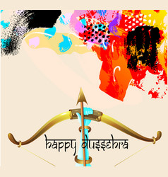 Happy dussehra greeting card with krishna bow vector