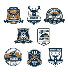 Hunting sport club icons and emblems vector