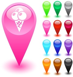 Icecream button vector image
