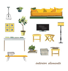 interior design elements furniture collection vector image