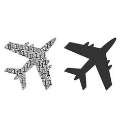 Jet plane mosaic of binary digits vector