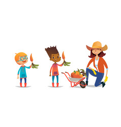 Laughing multiracial children holding carrots and vector