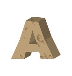 Letter a stone font rock alphabet symbol stones vector
