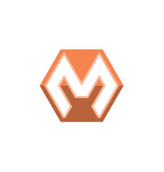 letter m shape hexagon logo white background vector image